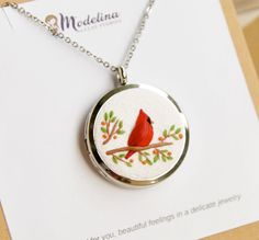Excited to share this item from my #etsy shop: READY TO SHIP, Birthday gift for her, Cardinal bird locket, Birthday gift mom, for women, Cardinal, Hand-sculpted, For wife, message locket Cremation Jewelry, Pet Cremation, Handmade Necklaces, Jewelry Necklaces, Hair Keepsake, Delicate Jewelry, Mom Birthday Gift, Memorial Gifts, Locket Necklace