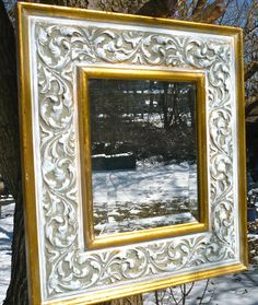 Mirror, Gold Mirror, Carved Mirror, Wood Mirror, Handmade Mirror, Carved Frame, Beveled Mirror, White Mirror, French, Provincial, Casa Karma by CasaKarmaDecor, $73.50 USD