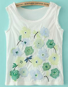 Perfect for summer   White Sleeveless Dragonfly Flowers Embroidered T-Shirt US$21.87