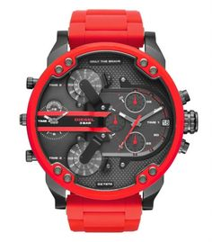 """Daddy Red Watch Be the best-accessorized guy in the room with the red metal Diesel Mr. The oversized gunmetal dial features the Diesel logo and """"Only the Brave"""" tags. Casual Watches, Cool Watches, Red Watches, Relogio Invicta Pro Diver, Herren Chronograph, Daddy, Mens Sport Watches, Diesel Watches For Men, Stainless Steel Watch"""