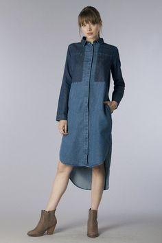 Denim High Low Long Color Block Shirt Dress 75% Cotton 25% Polyester Body Length: S:40 M:40.5 L:41 Bust: S:40 M:42 L:43