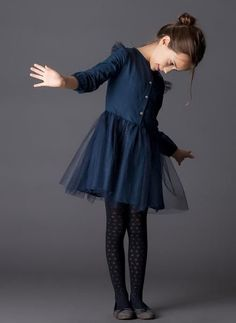 Tocoto Vintage Tulle Kid Dress in Navy - FINAL SALE