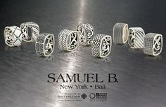 SAMUEL B  IMPERIAL MEN'S COLLECTION ORIGINAL SQUARE RINGS  SILVER