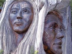 """"""" Amazing carving of Maori Papa/ Papatūānuku, Mother of all Earth and her great love Ranginui, the Sky Father at art gallery in Marahou """" Maori Designs, New Zealand Art, Maori Art, Tree Carving, Archaeological Finds, Art Carved, Sacred Art, Green Man, Mother Earth"""