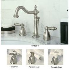 @Overstock.com - Vintage Satin Nickel Widespread Bathroom Faucet - Make your bathroom stand out with this vintage, satin-nickel bathroom faucet. A choice of either lever handles or cross-handles in your choice of shiny satin nickel or demure porcelain allows you to add that extra personal touch.  http://www.overstock.com/Home-Garden/Vintage-Satin-Nickel-Widespread-Bathroom-Faucet/5721659/product.html?CID=214117 $157.99