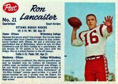 1962 Ron Lancaster - Ottawa Football Icon, Sport Football, Football Cards, Baseball Cards, Canadian Football League, American Football, Saskatchewan Roughriders, Football Hall Of Fame, Rough Riders