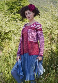 Oleana Silk & Merino Wool Butterflies & Flowers Cardigan Design 192-AV Floral & Pebble Pattern Knit Top Design 189-AV Oleana Scarf Design 193-AV Wristlets Design 194-AV Norwegian Sweaters