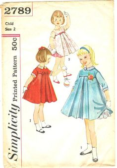 ©1958 Simplicity 2789 Vintage 50s Sweet Toddler Girl's by PatternPlaying