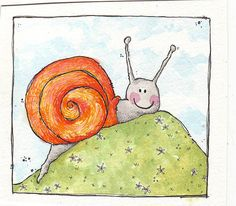 snail, via Flickr.- I used to draw a lot more than I do now .. must make more… Cartoon Design, Watercolor Cards, Drawing For Kids, Vintage Advertisements, Art Lessons, Vintage Art, Animals And Pets, Hand Embroidery, How To Draw Hands