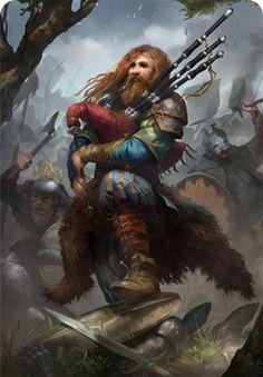 Dwarf Male Bard Light gaita flute Escócia