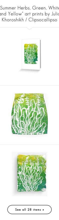 """""""""""Summer Herbs, Green, White and Yellow"""" art prints by Julia Khoroshikh / Clipsocallipso"""" by clipso-callipso ❤ liked on Polyvore featuring home, home decor, accessories, tech accessories, bags, handbags and tote bags"""