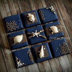 Nautical cookie set by Mintlemonade (cookie crumbs) Cookies Cupcake, Fancy Cookies, Cupcakes, Iced Cookies, Cute Cookies, Royal Icing Cookies, Elegant Cookies, Baking Cookies, Mint Lemonade