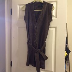 Long sweater vest with tie Purple and brown threads. Will be perfect with leggings and boots The Limited Sweaters