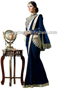 Fashionable Navy Blue Faux Georgette Saree
