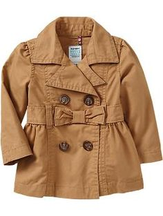 Bow-Tie Belted Trench Coats for Baby   Old Navy... Izzy (Winter Warbrobe), with her red jeans + white long sleeve shirt