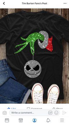 Grinch and Jack Skellington shirt. Grinch Christmas, Christmas Holidays, Christmas Crafts, Xmas, Disney Christmas, Jack Skellington, Nightmare Before Christmas Shirts, Personalized T Shirts, Holiday Fun
