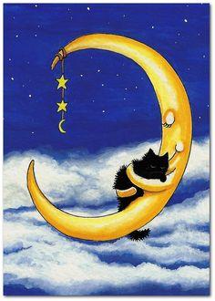Cat's Cradle Moon Holding Black Cat -  8.5x11 Print by AmyLyn Bihrle. $20.00, via Etsy.