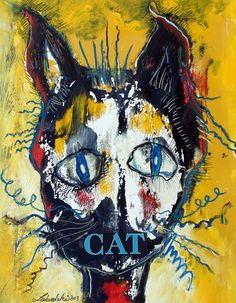 Original LABEDZKI Abstract Painting Outsider Art Cat 20x26 inch on Paper   eBay