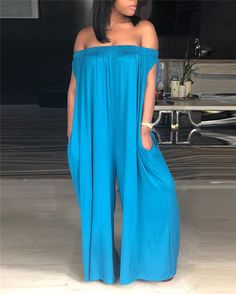 Women Solid Off Shoulder Sleeveless Casual Jumpsuit Long Jumpsuits, Jumpsuits For Women, Cheap Boutique Clothing, Diy Clothing, Casual Jumpsuit, Denim Jumpsuit, Women's Summer Fashion, Fashion Top, Fashion Edgy