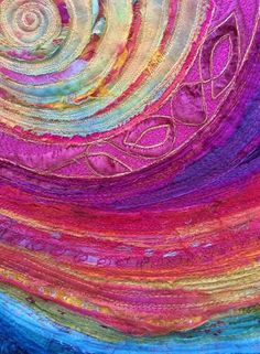 This is a lot like the strips I make too. Free Motion Embroidery, Free Machine Embroidery, Textile Fiber Art, Textile Artists, Tapestry Fabric, Fabric Art, Quilt Inspiration, Mini Quilts, Circle Quilts