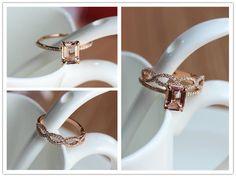 Fancy Two Rings6x8mm VS Pink Morganite Ring 14K Rose by ByLaris