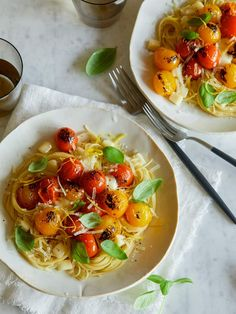 Capellini with Blistered Cherry Tomatoes and Fresh Basil