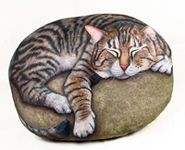 Hand painted rock.Cat Portraits on stone.  the cat rocks are awesome