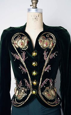 Evening jacket (image 2) | House of Schiaparelli for Saks Fifth Avenue | French | 1937-38 | silk, rayon, metallic thread, tinsel, glass, plastic | Metropolitan Museum of Art | Accession Number: 1978.288.19a–c