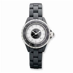 90a9569b4c5d6 Ladies Chisel Black Ceramic Black   White Dial Watch