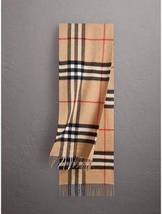 Burberry The Classic Check Cashmere Scarf Burberry Classic, Cotton Shirts For Men, Burberry Scarf, Checked Scarf, Cashmere Scarf, Plaid Scarf, Scarf Wrap, Beige, Blanket