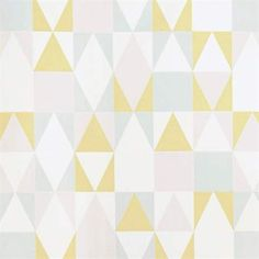 "Majvillan Wallpaper Company brings us this nordic geometric children's wallpaper ""Alice"" in soft pink, yellow, grey & creamy white. Non-Woven Wallpaper (paste the wall) Washable & Eco-Friendly Roll Size: x Repeat: Straight Match Wallpaper Paste, Retro Wallpaper, Kids Wallpaper, Geometric Wallpaper, Print Wallpaper, Computer Wallpaper, Geometric Prints, Room Wallpaper, Geometric Patterns"