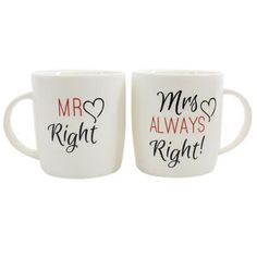 Mr Right and Mrs Always Right Mug Set Wedding Gifts | eBay