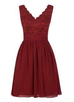 Angel Formal Dresses Women's V Neck Lace Dress Bridesmaids Dress Short Prom Dress(2,Dark Red)