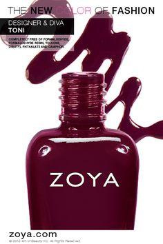 Zoya Nail Polish in Toni from the NYFW 2012 Designer Collection www.zoya.com/content/38/item/Zoya/Zoya-Nail-Polish-Toni-ZP627.html?O=PN121001MO13234