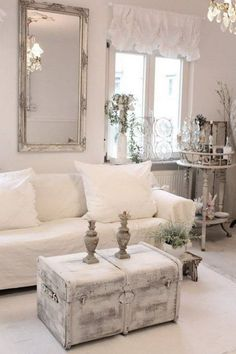 Shabby Chic Whitewashed chest and a Framed Mirror for Living Room Decor.