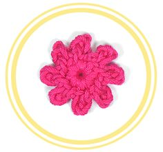 Mini Flor de Ocho Pétalos a Crochet