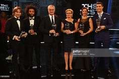 Winners Luka Modric, Marcelo, Claudio Renieri, Silvia Neid, Carli Lloyd and Cristiano Ronaldo pose with their The Best FIFA Player Award during The Best FIFA Football Awards at TPC Studio on January 9, 2017 in Zurich, Switzerland.