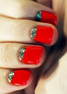 red and gold glitter half moon manicure