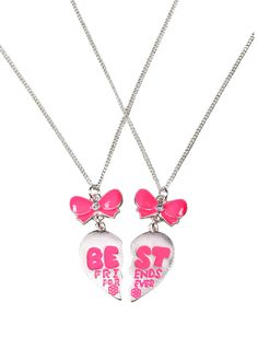 Pink Bow BFF Necklaces | Necklaces | Jewelry | Shop Justice