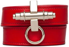 GIVENCHY Leather Wrap Bracelet in Red