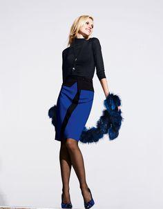 Rock in der Farbe royal / schwarz - royalblau - schwarz, blau - im MADELEINE Mode Onlineshop
