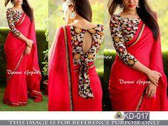 Indian Bollywood New Designer Saree Wedding Party wear Pakistani Lehenga Sari Saree Jacket Designs, Fancy Blouse Designs, Saree Blouse Patterns, Blouse Neck Designs, Kalamkari Blouse Designs, Designer Sarees Collection, Saree Collection, Chiffon Saree, Georgette Sarees