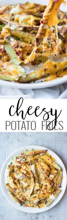 Cheesy Potato Fries | homemade french fry recipes | cheese fries recipe | how to make homemade cheese fries | homemade appetizer recipes | recipes using potatoes | potato appetizer recipes | game day recipes | homemade cheese fry recipe || Oh So Delicioso