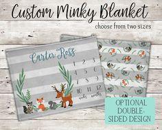 Monogram Name Custom Milestones Green Theme Romantic Personalized Baby Boy Blanket