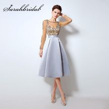 Champagne Cocktail Dresses with Long Sleeves 2017 Knee Length Short Satin  Vestidos Plus Size Sexy Women 3c5bbabc7096