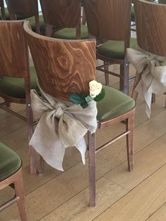 Hessain chair sash. Great for a vintage / country inspired wedding. www.fuschiadesigns.co.uk