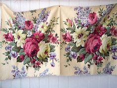 vintage fabric Cabbage Rose Bouquet, Cabbage Roses, Lavender Cottage, Shabby Chic Fabric, Delphinium, Yellow Background, Vintage Fabrics, Botanical Prints, Dusty Rose