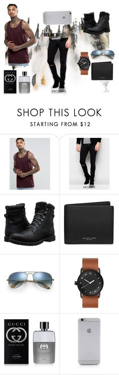 """""""casual"""" by katgirl161 ❤ liked on Polyvore featuring ASOS, Cheap Monday, Timberland, Michael Kors, Ray-Ban, Gucci, Native Union, men's fashion and menswear"""