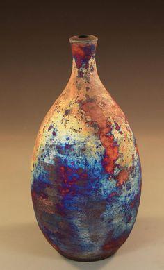 Pottery by Nita Claise Raku bottle.  www.nitaclaise.com