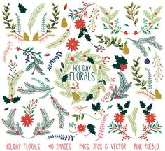 Christmas Holiday Vintage Florals by PinkPueblo on Creative Market